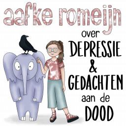 Afleveringplaatje van S01E10 Aafke Romeijn over depressie en gedachten aan de dood