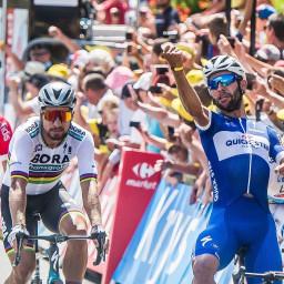 Afleveringplaatje van Etappe 1: Gaviria wint, schade voor Froome & Quintana